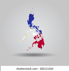 Highly Detailed Country Silhouette With Flag and 3D effect - Philippines