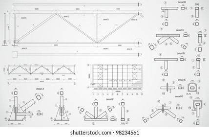 Highly detailed drawing of industrial truss