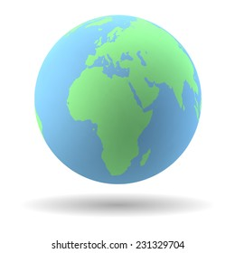 Highly detailed Earth globe in blue and green.
