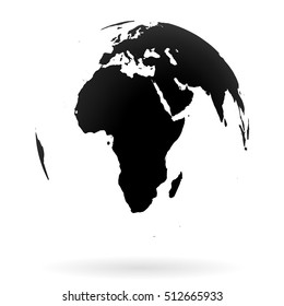 Highly detailed Earth globe symbol, Africa and Middle East. Black on white background.