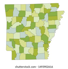 Highly detailed editable political map with separated layers. Arkansas.