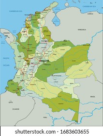 Highly detailed editable political map with separated layers. Colombia.