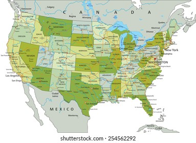 usa detailed physical map roads railroads stock vector royalty free