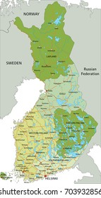 Highly detailed editable political map with separated layers. Finland.
