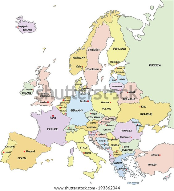 Highly Detailed Europe Political Map Country Stock Vector ...