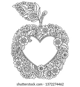 Highly detailed floral pattern in Mehndi style in form of fruit. Frame in shape of apple around the heart. Decoration flower in ethnic oriental, Indian style.