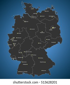 Highly detailed Germany map, Main Cities