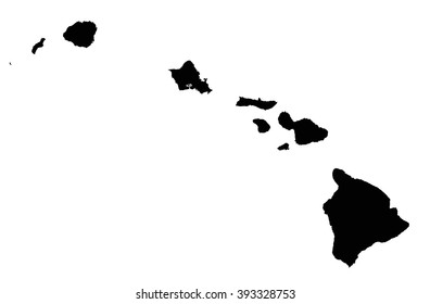 Highly Detailed Hawaii Silhouette map.
