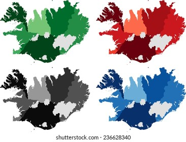 Highly Detailed Iceland political map in four different color. Isolated, editable.