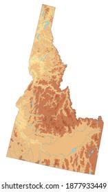 Highly detailed Idaho physical map.