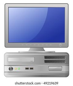 Highly detailed illustration of Grey Desktop Computer. Vector illustration.