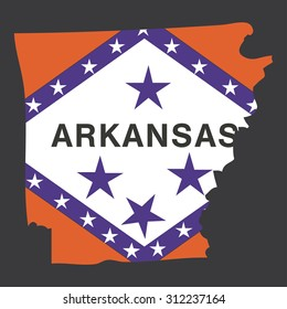 Highly detailed map with flag inside of the state of Arkansas