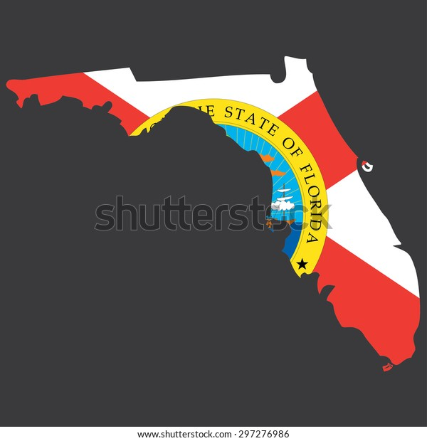 Highly detailed map with flag inside of the state of Florida