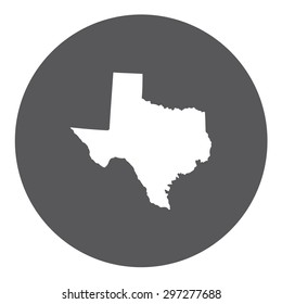 Highly detailed map inside a circle of the state of Texas