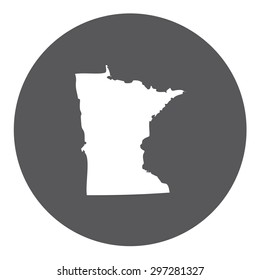Highly detailed map inside a circle of the state of Minnesota