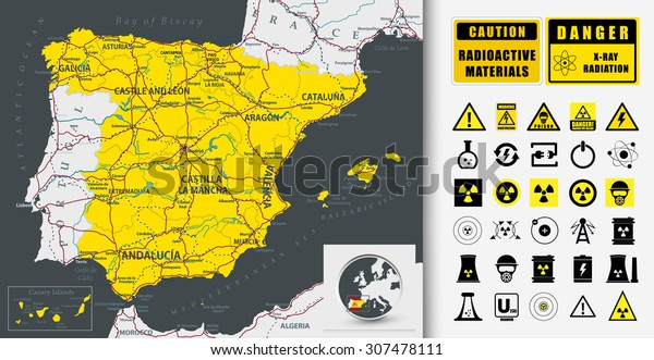 Detailed Map Of Spain.Highly Detailed Map Spain Nuclear Power Stock Vector Royalty Free
