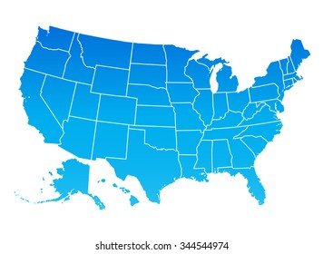 Highly detailed map of the United States of America. USA map, blue color.