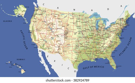 Highly Detailed Map of United States. With cities, roads, railways, lakes, rivers, relief, states, Alaska and Hawaii