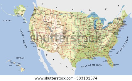 Highly Detailed Map United States Cities Stock Vector Royalty Free