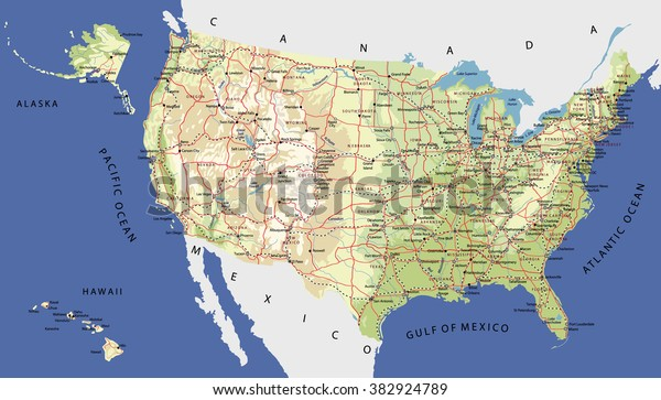 Highly Detailed Map United States Cities Stock Vector ... on united states physical features mountains, united states map all rivers, united states map including rivers, detailed map of united states with rivers, united states mountain ranges labeled, united states night lights, the united states map with rivers, western united states rivers, united states map with major rivers, united states rivers map labeled, united states national park service, map of wisconsin lakes and rivers, united states mississippi river, large map of united states with rivers, america's rivers, united states ocean boundaries, five major united states rivers, printable map of mississippi rivers, united states map rivers only, united states major river systems,