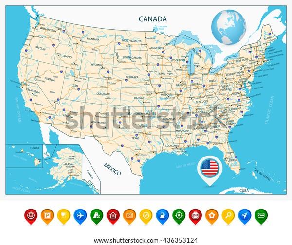 Meget Detaljeret Kort Over Usa Med Lagervektor Royaltyfri 436353124