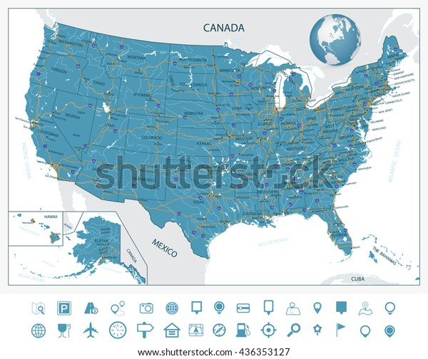 Highly Detailed Map United States Cities Stock Vector ...