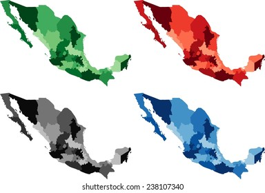 Highly Detailed Mexico political map in four different color. Isolated, editable.
