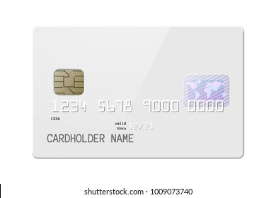Highly detailed mock up of realistic glossy white credit card, front side . Vector illustration