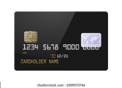 Highly detailed mock up of realistic glossy black credit card, front side. Vector illustration