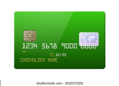 Highly detailed mock up of realistic glossy green credit card, front side . Vector illustration