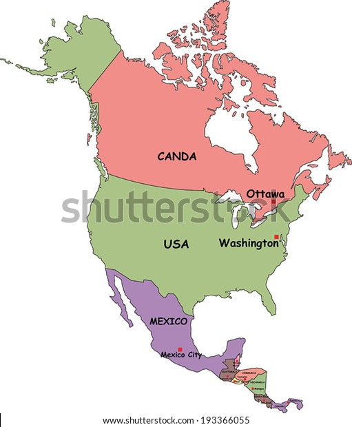 Highly Detailed North America Political Map Stock Vector ...