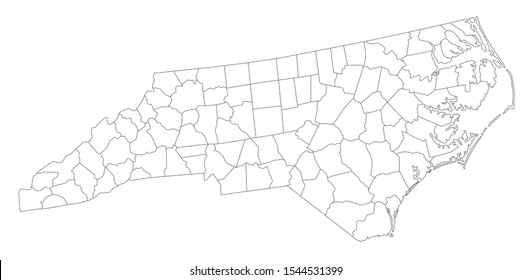 Highly Detailed North Carolina Blind Map.