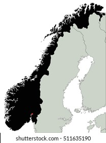 Highly Detailed Norway Silhouette map.