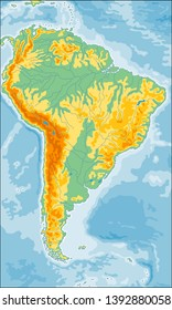 Highly detailed physical map of the South America continent