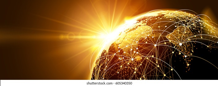 Highly detailed planet earth with sunrise. Global network. Vector illustration
