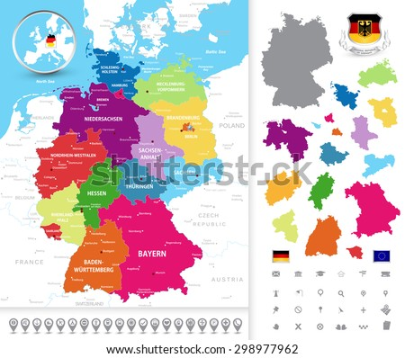 Highly Detailed Political Map Germany Administrative Stock ...