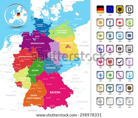 Highly Detailed Political Map Germany Federal Stock Vector (Royalty ...