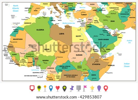 Highly Detailed Political Map Northern Africa Stock Vector (Royalty ...
