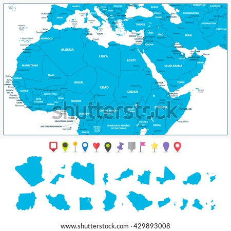 Political Map Of The Middle East And North Africa.Highly Detailed Political Map Northern Africa Stock Vector Royalty