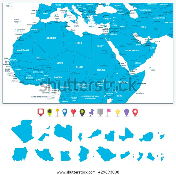 Highly Detailed Political Map Northern Africa Stock Vector ...