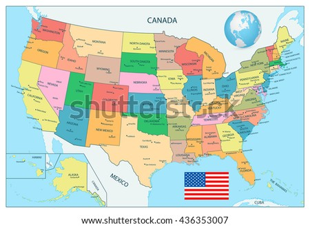 Highly Detailed Political Map USA Including Stock Vector (Royalty ...