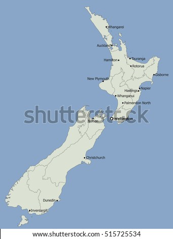 Highly Detailed Political New Zealand Map Stock Vector (Royalty Free ...