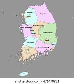 Highly detailed political South Korea map