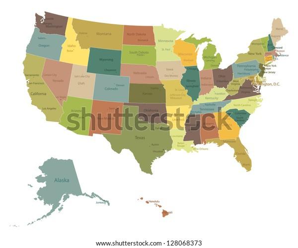 Meget Detaljeret Politisk Usa Kort Med Lagervektor Royaltyfri