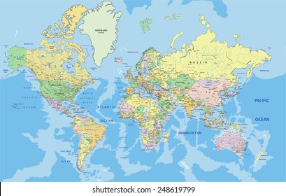Highly detailed political World map with labeling. Vector illustration.