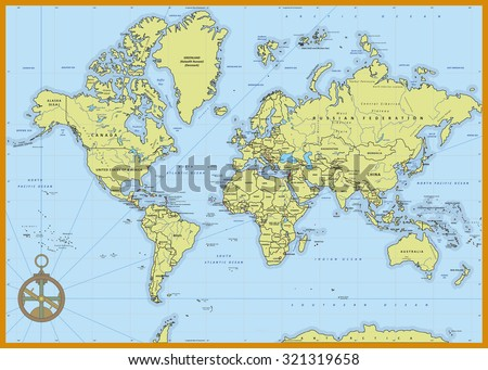 Highly Detailed Political World Map Capitals Stock Vector Royalty