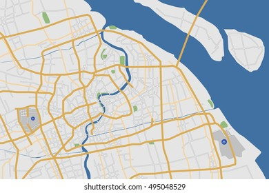 Highly Detailed Shanghai City Road Network Map