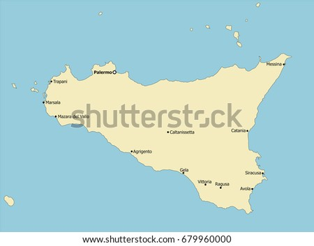 Cities In Sicily Italy Map.Highly Detailed Sicily Map Italy Main Stock Vector Royalty Free