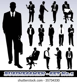 Highly Detailed Silhouettes of Businessmen