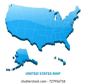 Highly detailed three dimensional map of USA with regions border. United States of America.